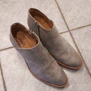 Gray and Tan Qupid Ankle Boots